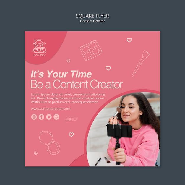 Sjabloonthema voor contentcreator-flyer Gratis Psd