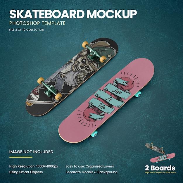 Skateboards op de vloer mockup Premium Psd