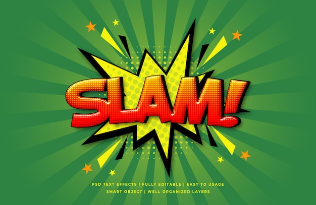 Slam discurso cómico efecto de estilo de texto en 3d PSD Premium