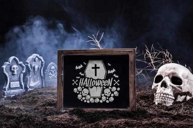 Slate mockup con il concetto di halloween Psd Gratuite