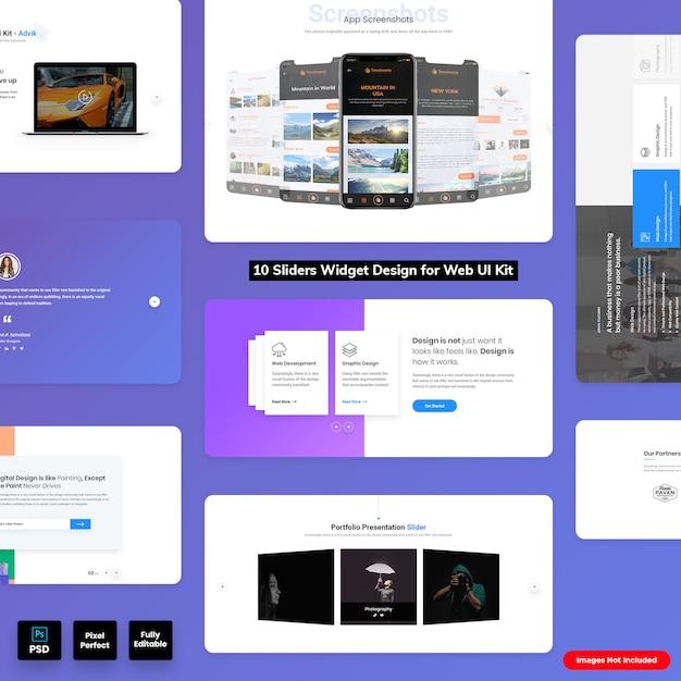 Sliders widgets design voor web ui kit Premium Psd