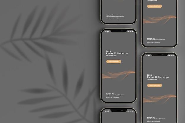 Slimme telefoonmodel met schaduwoverlay Premium Psd