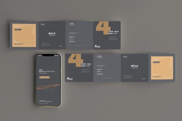 Slimme telefoonmodel met viervoudige vierkante brochure Premium Psd