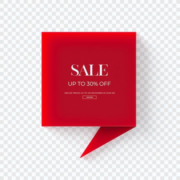 Sluit omhoog op 3d rode geïsoleerde markering van verkoopkleren Premium Psd