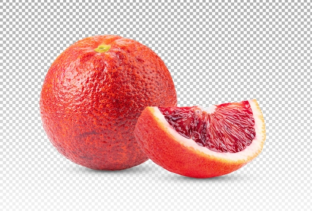 Sluit omhoog op bloedsinaasappel met geïsoleerde plak Premium Psd