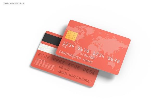 Sluit omhoog op geïsoleerd creditcardmodel Premium Psd