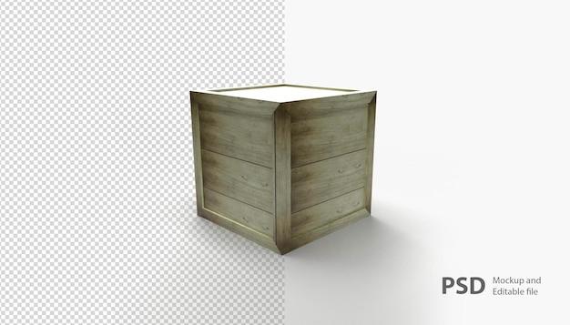 Sluit omhoog op geïsoleerde houten doos Premium Psd