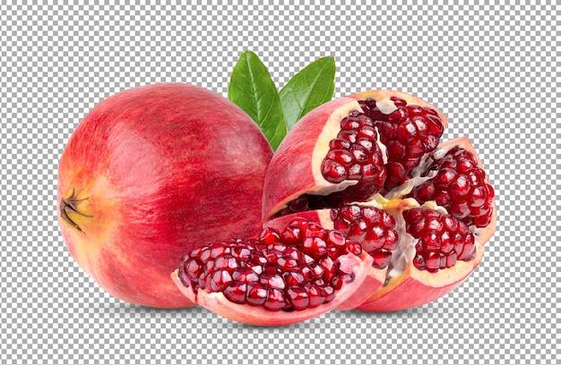 Sluit omhoog op rijp geïsoleerd granaatappelfruit Premium Psd