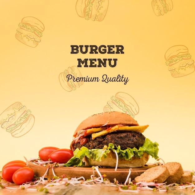 Smakelijke rundvlees hamburger menuachtergrond Gratis Psd