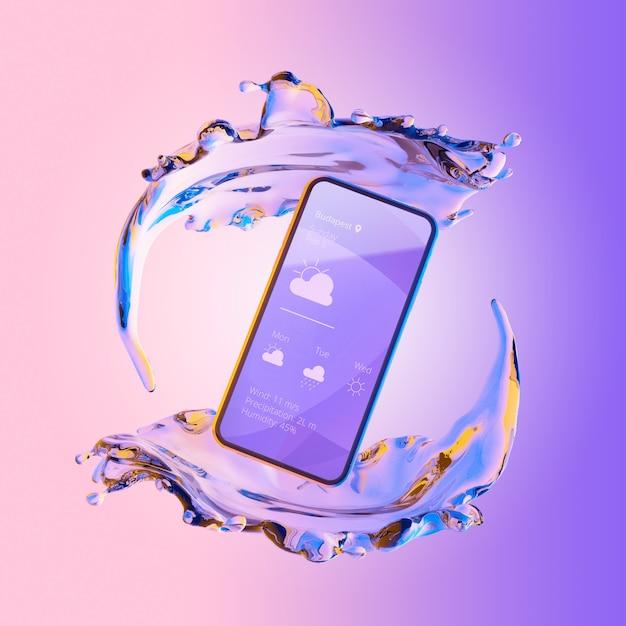 Smartphone 3d con efecto agua PSD gratuito