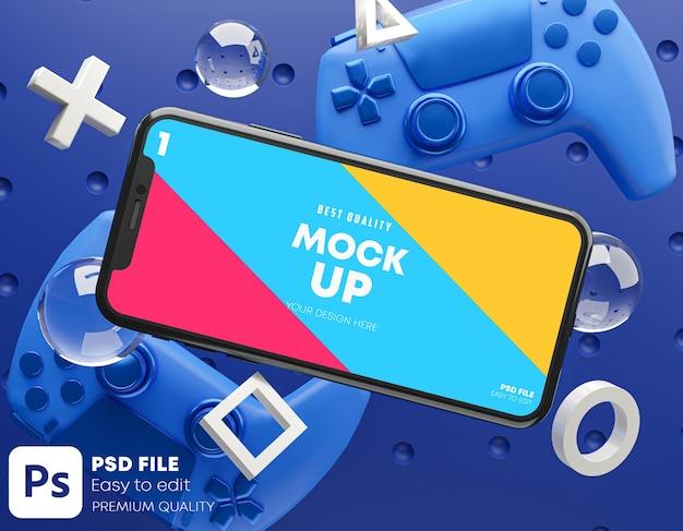 Smartphone blue mockup voor gamepad Premium Psd