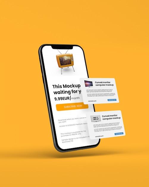 Smartphone con carta di credito mockup Psd Premium