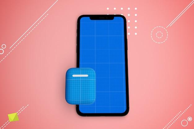 Smartphone con schermo mockup e auricolari, concetto di musica app Psd Premium