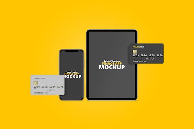 Smartphone en tablet met plastic kaartenmodel Premium Psd
