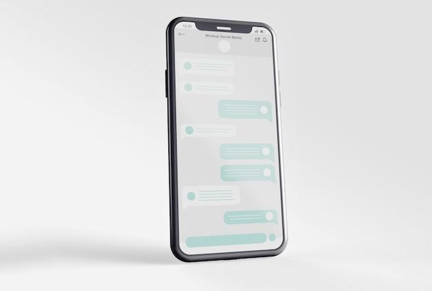 Smartphone met mockup voor sociale media Premium Psd