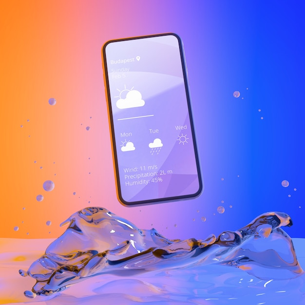 Smartphone met weer app en kleurrijke vloeibare achtergrond Gratis Psd