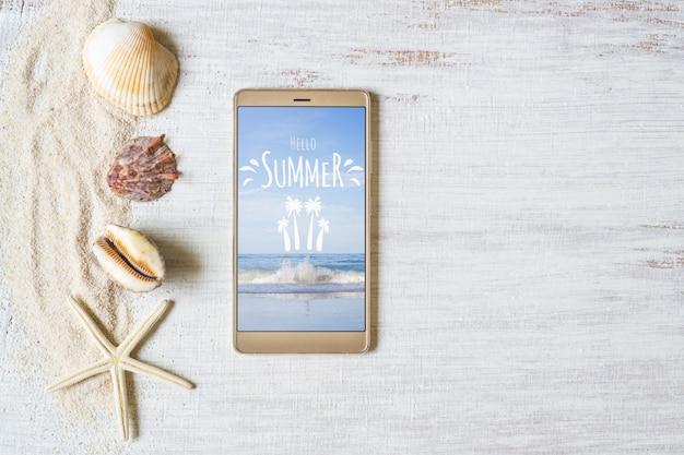Smartphone mock up modello per le vacanze estive Psd Premium
