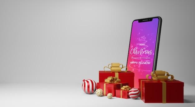 Smartphone-mockup met geschenken in 3d-rendering Premium Psd