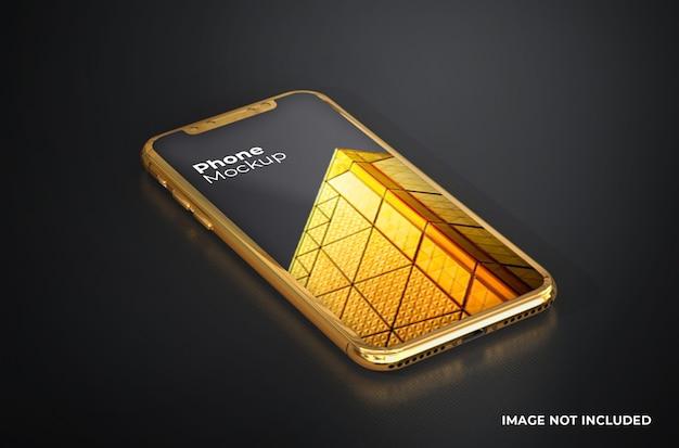 Smartphone-mockup met gouden scherm Premium Psd