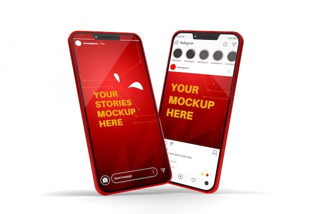 Smartphone-mockup met instagram-post en verhalen Premium Psd