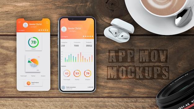 Smartphone-mockup voor apps Gratis Psd