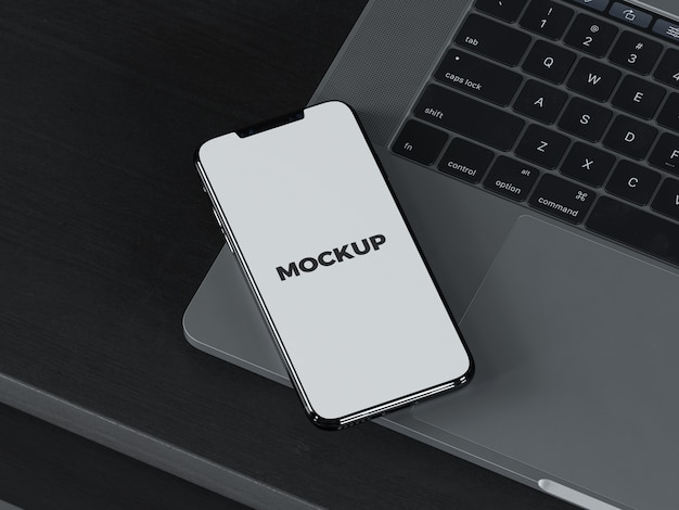 Smartphone op laptop mock up Premium Psd
