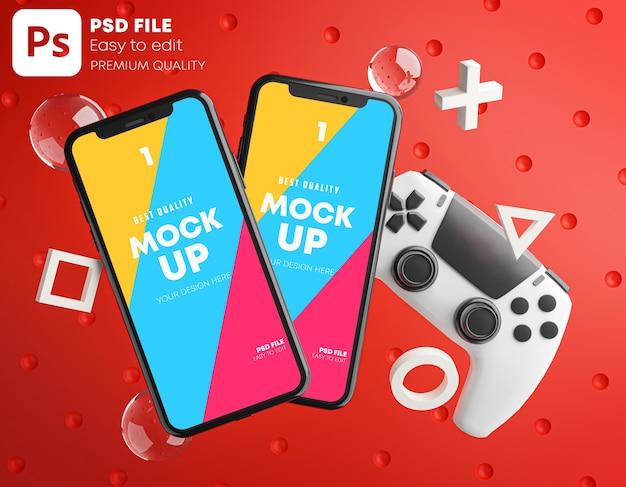 Smartphone red mockup voor gamepad Premium Psd