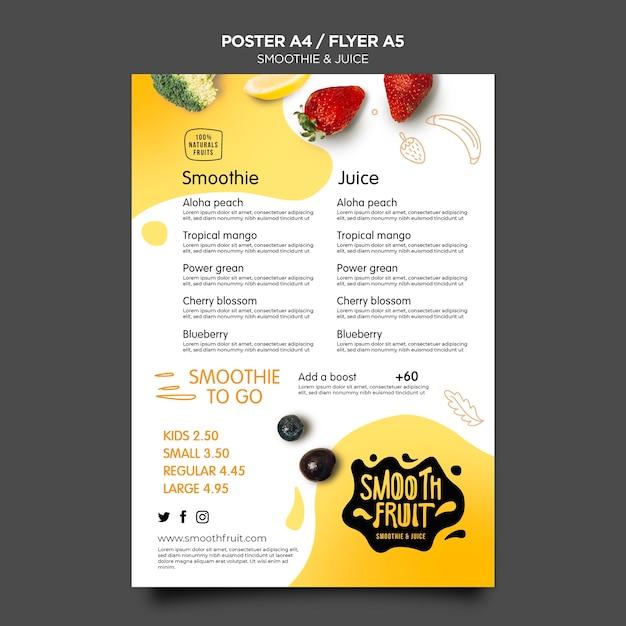 Smoothie bar poster sjabloon Gratis Psd