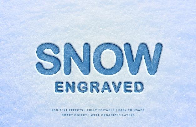 Sneeuw gegraveerd 3d-tekststijleffect Premium Psd