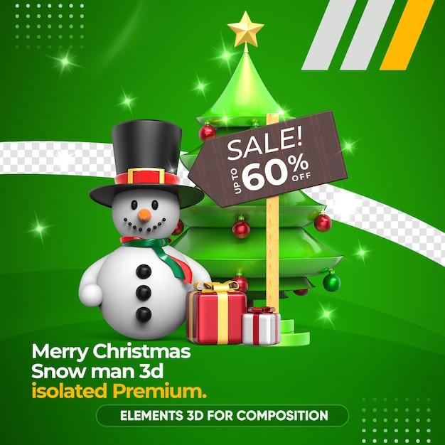Sneeuwpop 3d-premie voor compositieweergave Premium Psd
