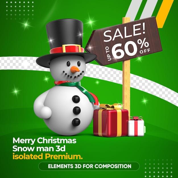 Sneeuwpopverkoop voor geïsoleerde samenstelling Premium Psd