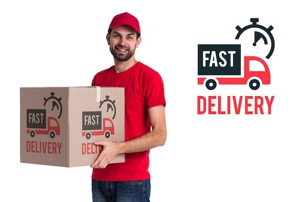 Snelle levering en man in rood kostuum Gratis Psd