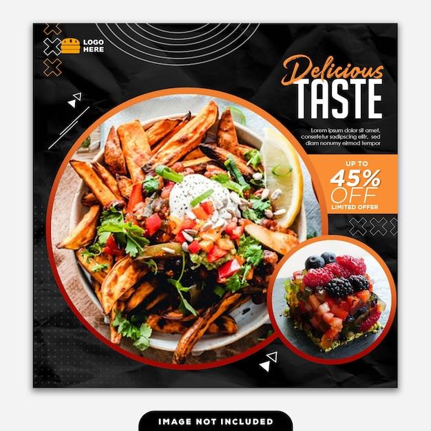 Social media banner post food delicious taste Premium Psd