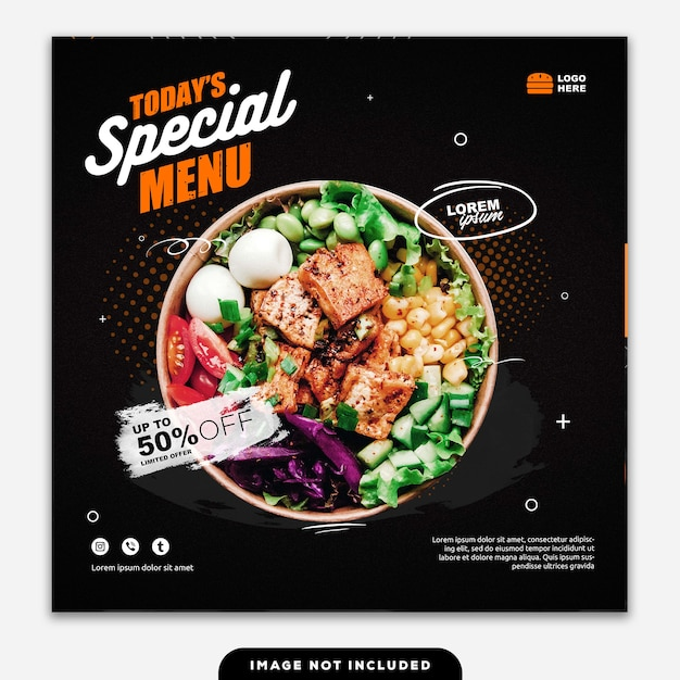 Social media banner post food special menu vandaag Premium Psd
