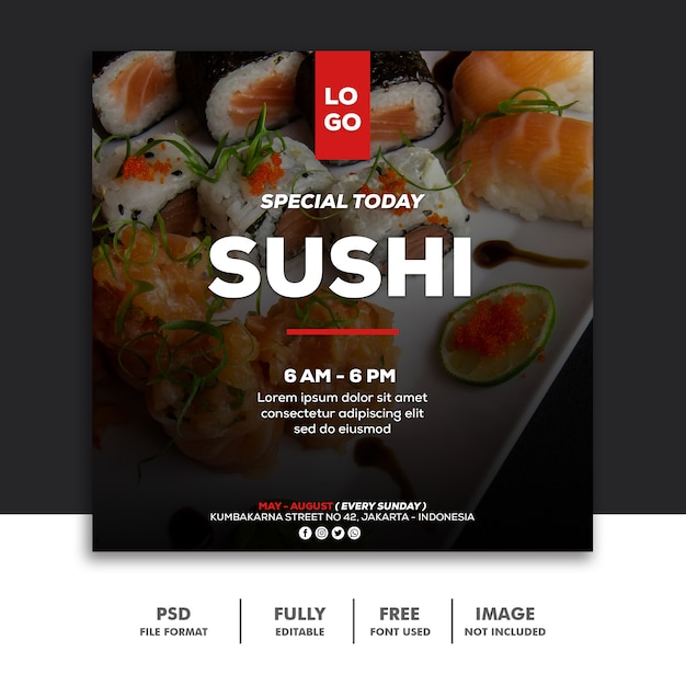 Social media banner post template voedsel speciale sushi Premium Psd