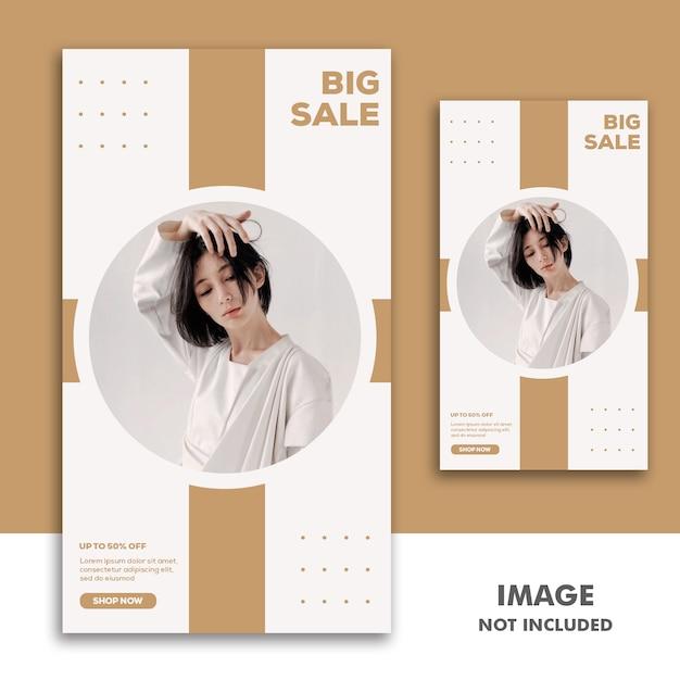 Social media banner template storia di instagram, fashion girl grande vendita Psd Premium