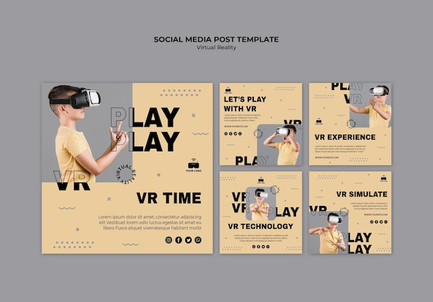 Social media-bericht in virtual reality Gratis Psd
