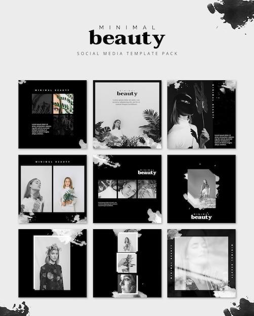 Social media bericht mockup met schoonheid concept Gratis Psd