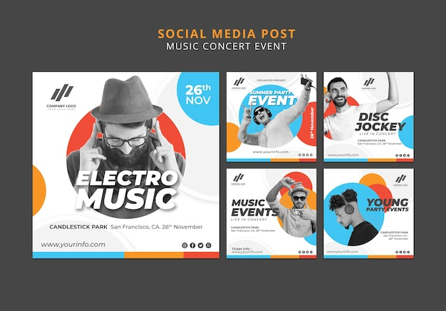Social media-berichtenverzameling Gratis Psd