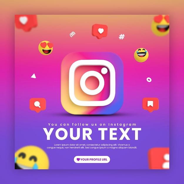 Social media instagram postsjabloon met emoji's en pictogrammen Premium Psd