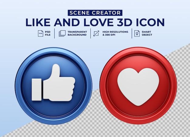 Social media like and love minimalistisch 3d-knoppictogram voor de maker van de scène Premium Psd