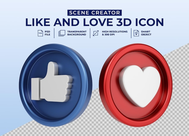 Social media like and love minimalistisch 3d-knoppictogram voor de maker van de scène Premium Psd