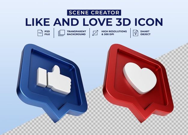 Social media like and love minimalistische 3d-knop pictogram badge Premium Psd