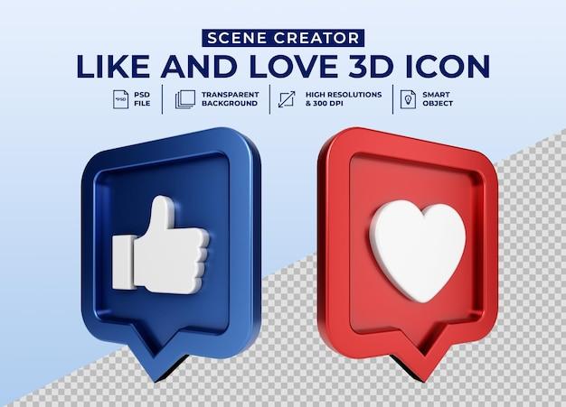 Social media like and love minimalistische 3d-knop pictogram badge Premium Psd