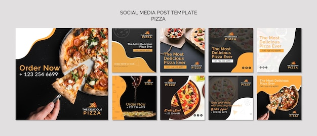 Social media pizza post-sjabloon Gratis Psd