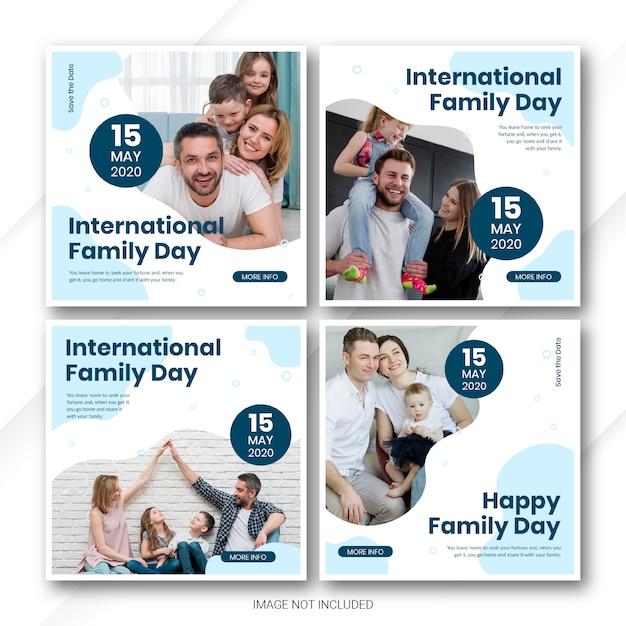 Social media post banner bundel internationale familiedag sjabloon Premium Psd