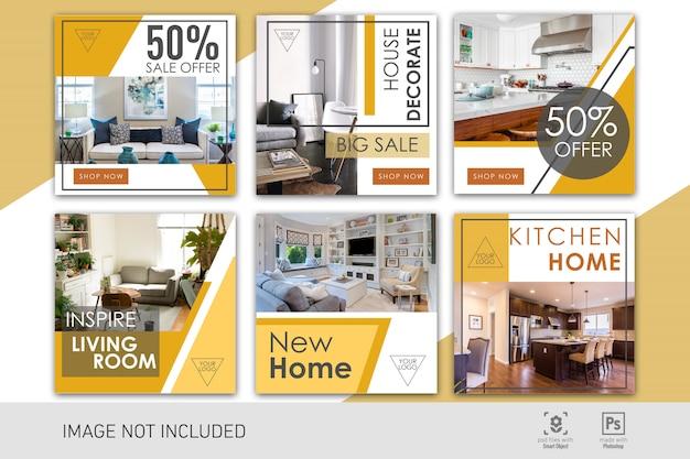 Social media post decoración del hogar plantilla minimalis simple moderna PSD Premium