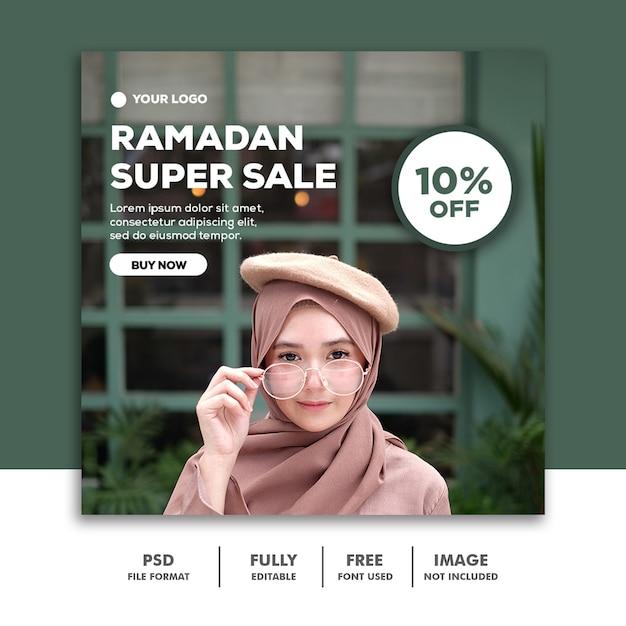 Social media post instagram-sjabloon mode ramadan super verkoop hijab meisje Premium Psd