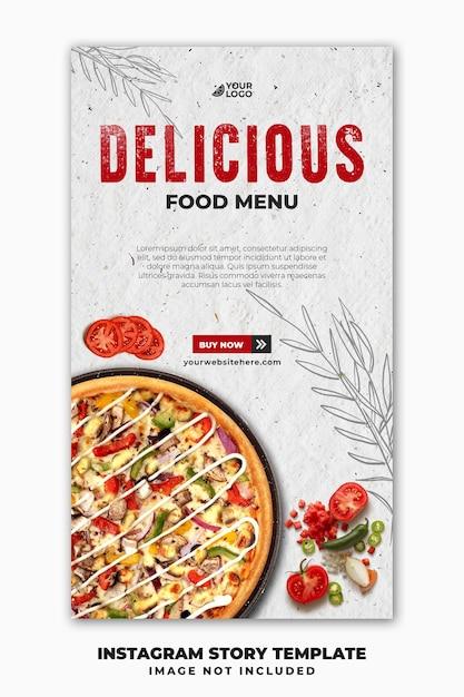 Social media post instagram verhalen sjabloon voor spandoek voor restaurant fastfood menu pizza Premium Psd