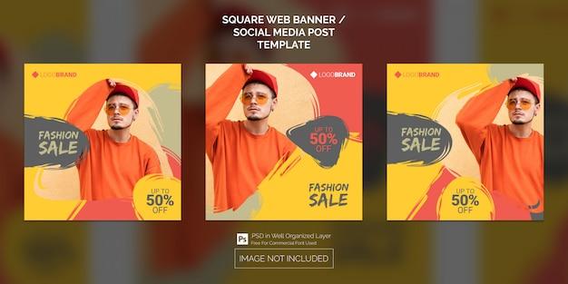 Social media post of square web banner sjabloon collectie van fashion sale Premium Psd